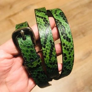 Michael Kors green print Leather belt.